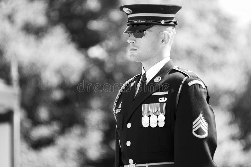 Change of the Guard in Arlington Cemetery stock photo