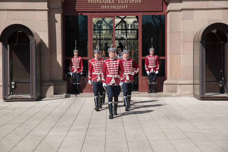 Change of guards at the office of Bulgaria's President royalty free stock photos
