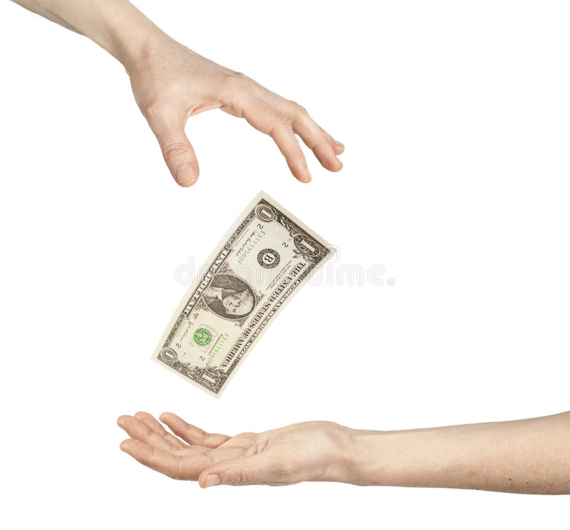 Change hands of money. On white background stock photography