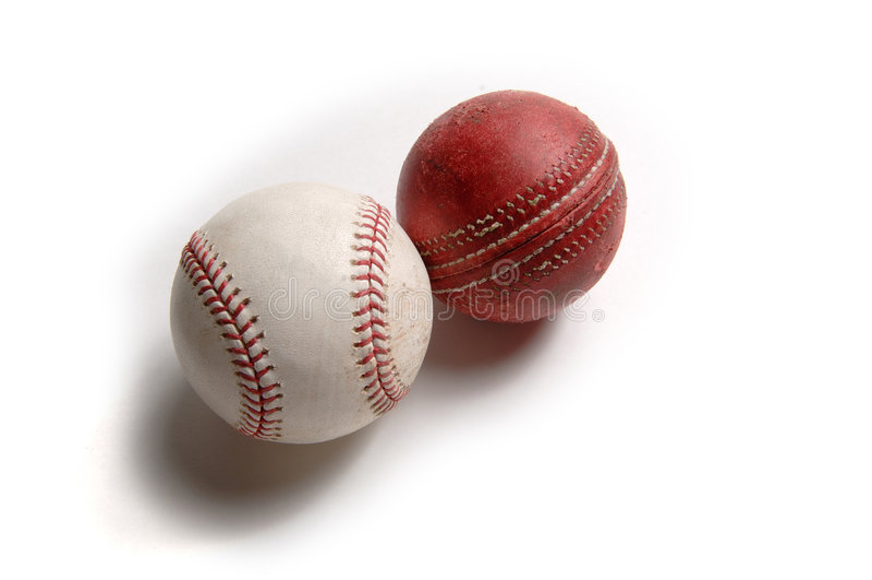 Change Happens 2 - cricket to baseball. Cricket evolved into baseball stock image