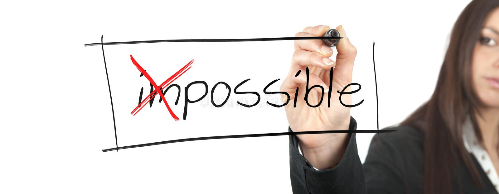 Change the impossible into possible stock photos