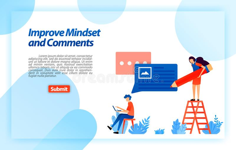 Change and improve user`s mindset and comments in using service to get better advice, feedback and support from user. vector illu. Stration concept for landing stock illustration