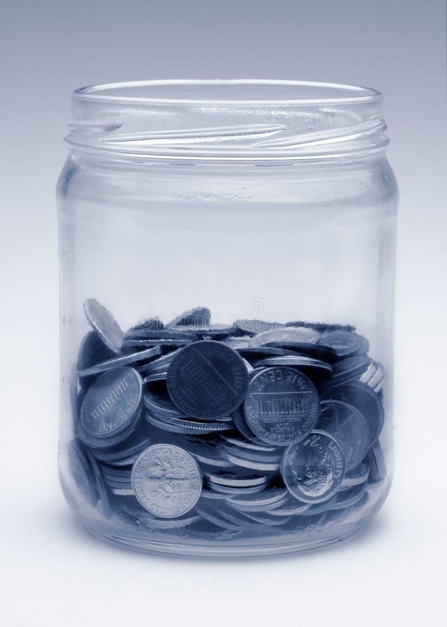 Download Change Jar In Monochrome Blue Stock Photo - Image: 9278706