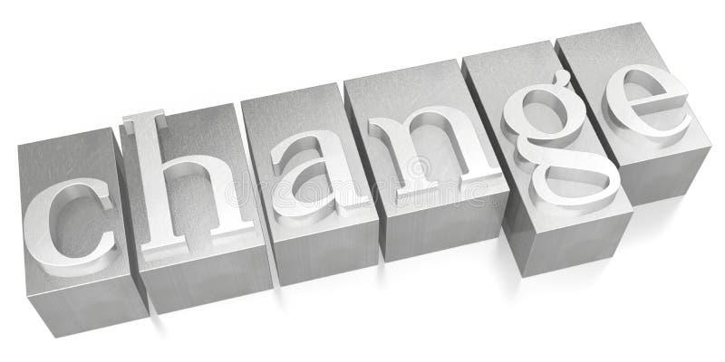 Change - silver letterpress - 3D illustration royalty free stock photography