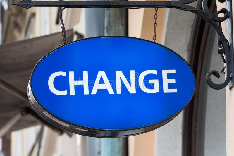 Change logo on money exchange office. Kraków, Poland - MARCH 21, 2019: Change logo on money exchange office royalty free stock image