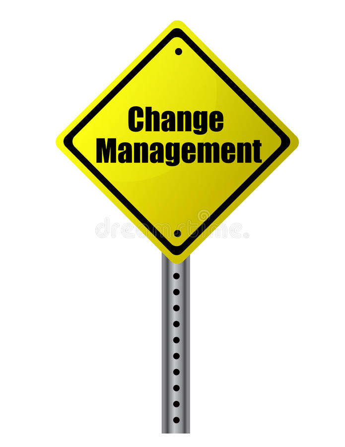 Change management. Posted on a yellow sign. Vector File available royalty free illustration