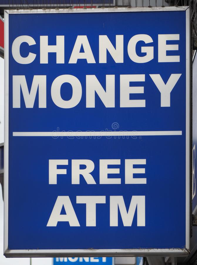 Change money free atm sign. At currency exchange money transfer royalty free stock photography
