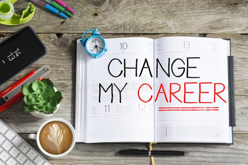 Change my career is the plan for the future with agenda and office supplies on wooden desk royalty free stock photos