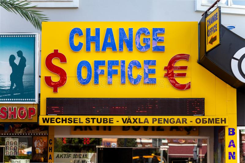 Change Office shop for money exchange in Turkey. ANTALYA / TURKEY - SEPTEMBER 30,2018: Change Office shop for money exchange in Turkey stock photos