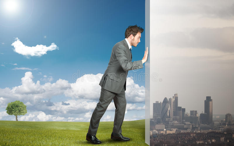 Change pollution with green environment stock photography