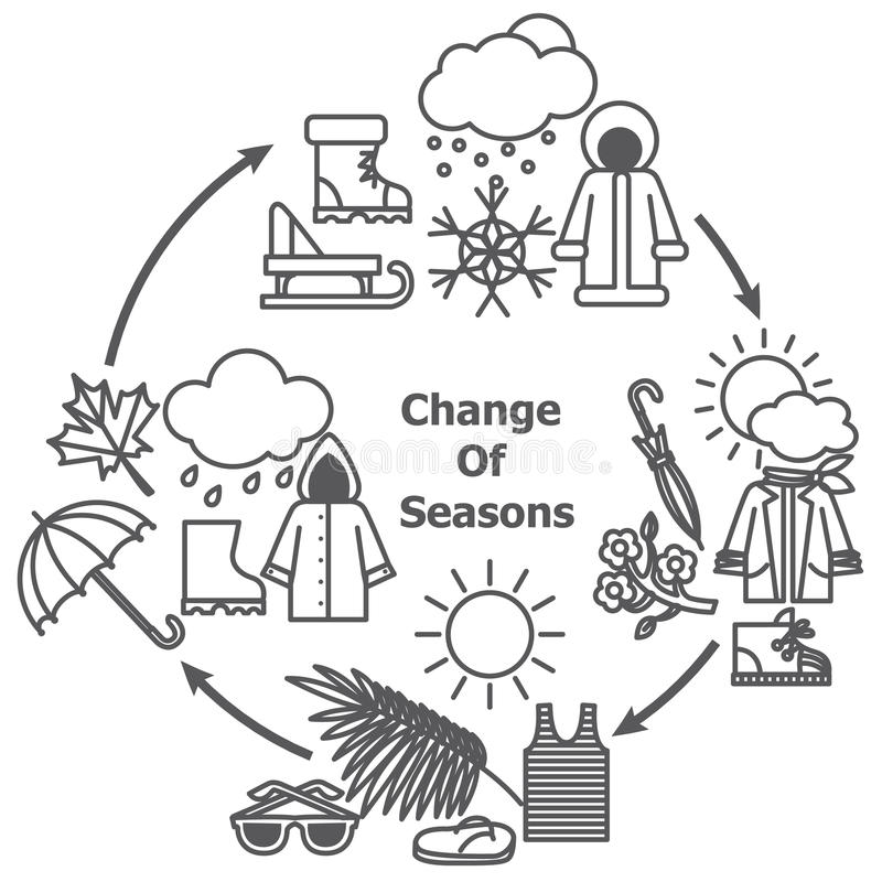 Change of seasons illustration stock illustration