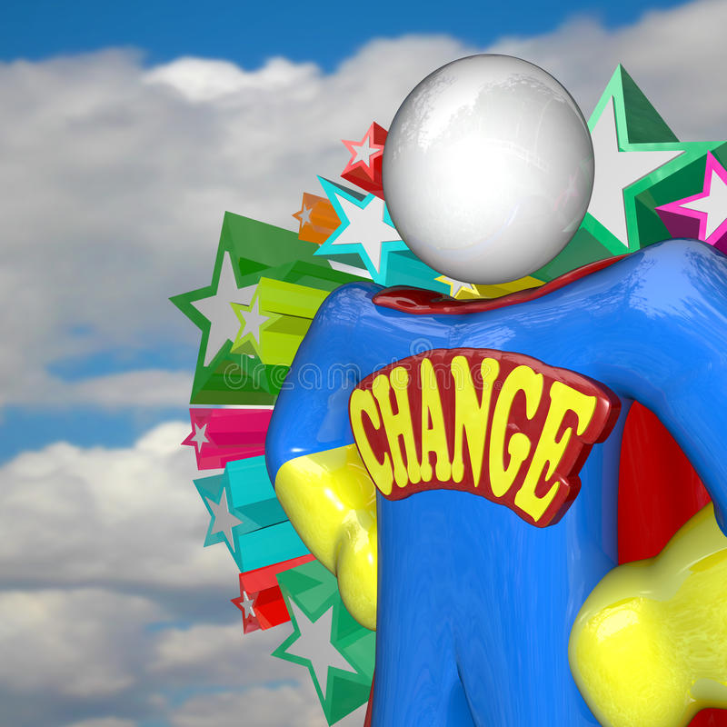 Change Superhero Looks to Future of Changing and Adapting. A superhero stands with the word Change as an emblem across his chest, looking to the future to lead a royalty free illustration
