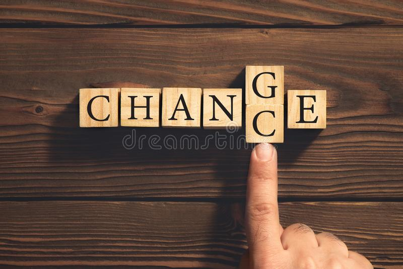 Change to Get Chance Concept with Wooden Blocks. Business Metaphor. Change to Get Chance Concept with Wooden Blocks. Business and Development Metaphor royalty free stock photos