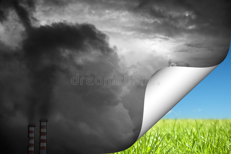 Change to green. Abstract concept of pollution and clean environment royalty free stock photography