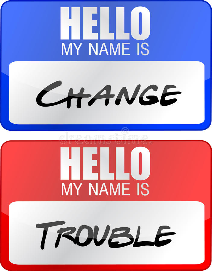 Change and trouble name tags illustration designs stock illustration