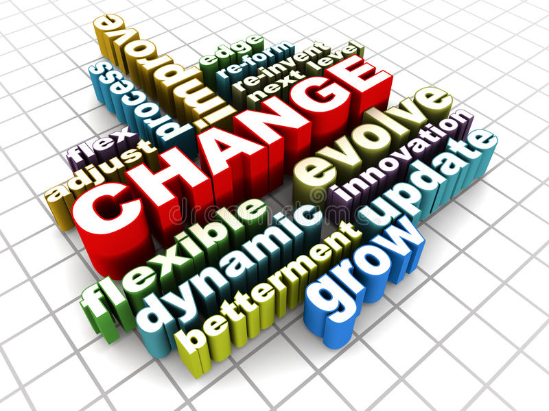 Change words. Change and management related words on checked floor royalty free illustration