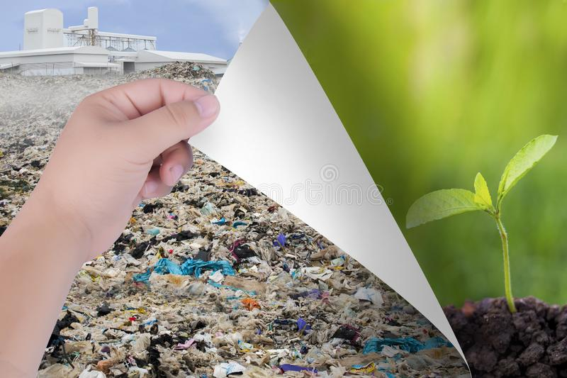 Change the world with our hands. From pollutants to natural landscapes or trees. Inspiration for environmental protection and envi stock photo