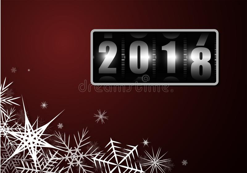 Change of the year on the drum counter from 2017 to 2018 with white snowflakes. Billet for postcard or poster. Change of the year on the drum counter from 2017 royalty free illustration