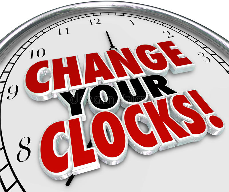 Change Your Clocks Set. Change Your Clocks words on a 3d rendered clock face to illustrate setting hands forward or backward an hour to observe daylight savings stock illustration