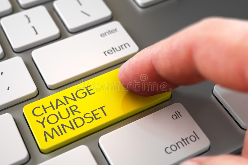 Change Your Mindset - Keyboard Key Concept. 3D. Hand Pushing Yellow Change Your Mindset Modernized Keyboard Keypad. 3D Illustration vector illustration