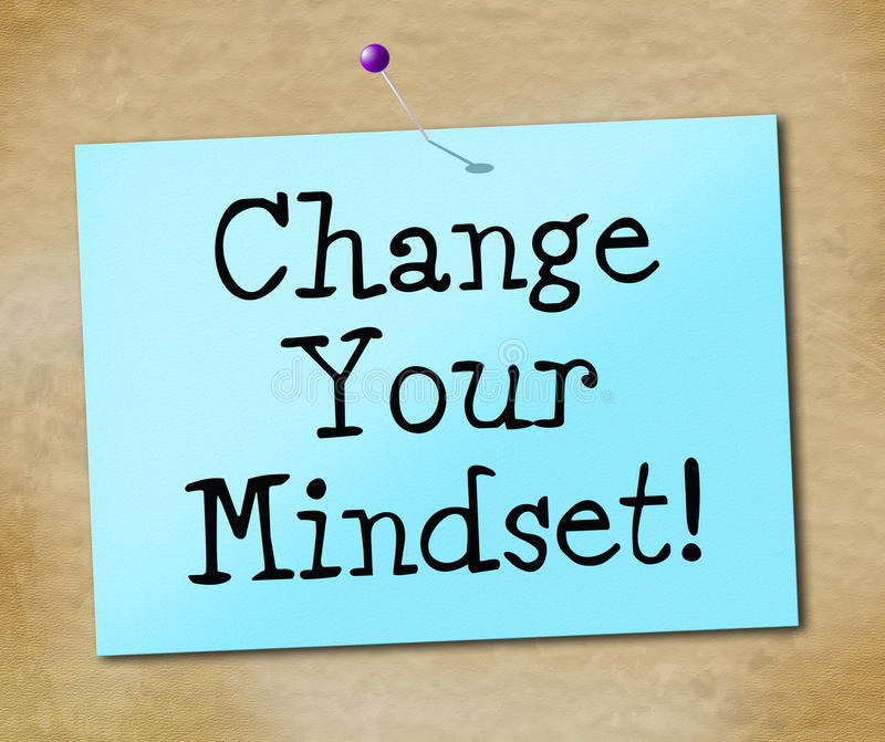 Change Your Mindset Represents Think About It And Reflect. Change Your Mindset Indicating Think About It And Reflect Plan royalty free illustration