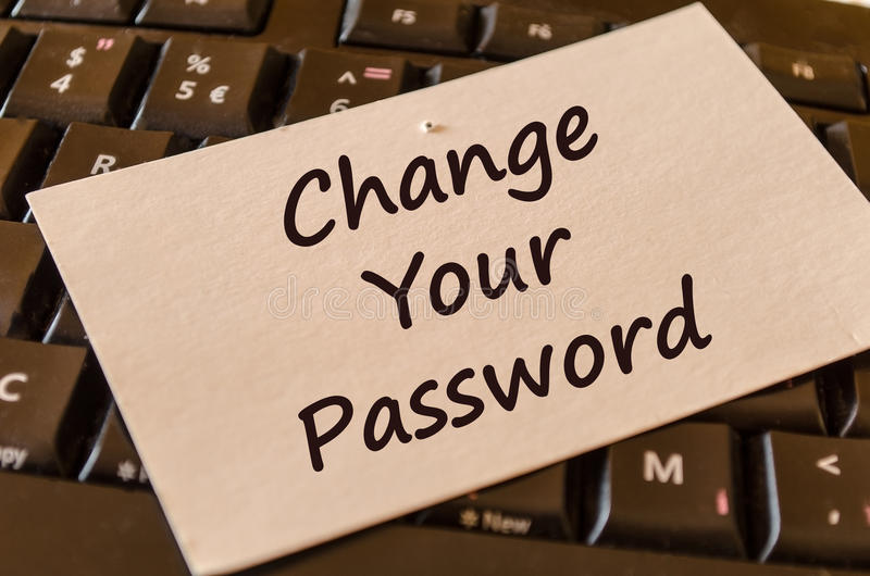 Change your password text note stock photos