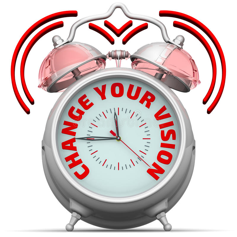Change your vision. The alarm clock with an inscription royalty free illustration