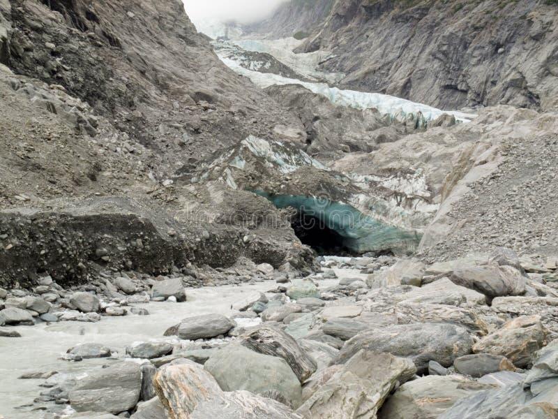 Changement climatique, glace de glacier de fonte et roche fine image libre de droits