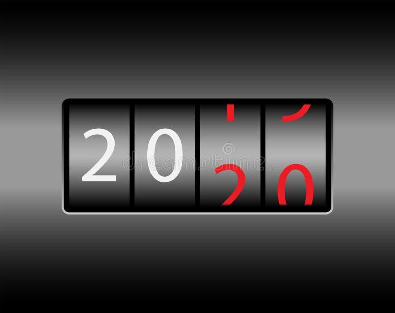 Changement d'année sur l'odomètre La nouvelle année 2020 vient Nombres blancs et rouges, fond noir illustration stock