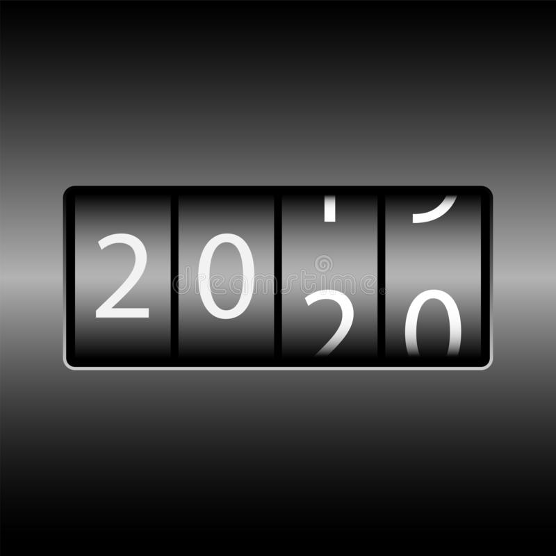 Changement d'année sur l'odomètre La nouvelle année 2020 vient Nombres blancs, fond noir illustration de vecteur