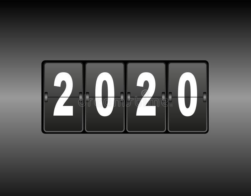 Changement d'année sur le compteur de calendrier La nouvelle année 2020 vient Nombres blancs, fond noir illustration libre de droits