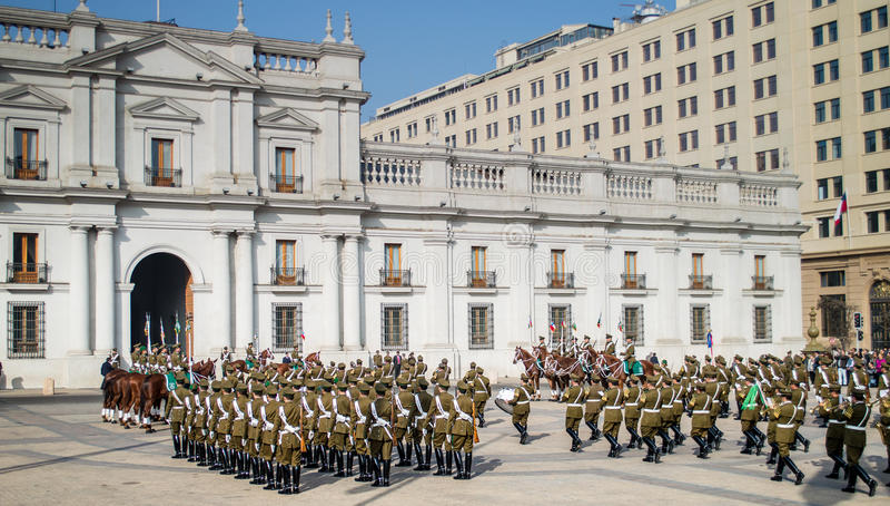 Changement de la garde, Santiago, Chili images stock