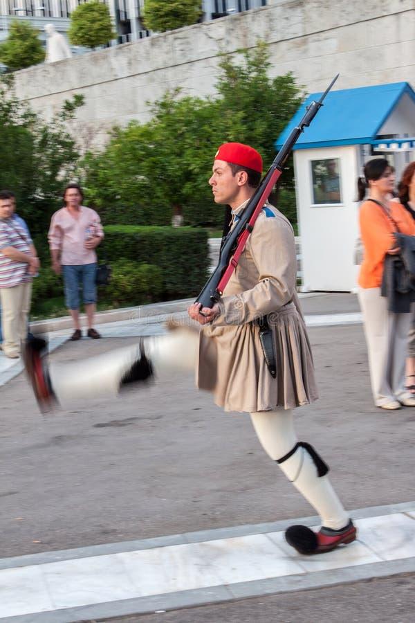 Changement des dispositifs protecteurs Athènes photo stock