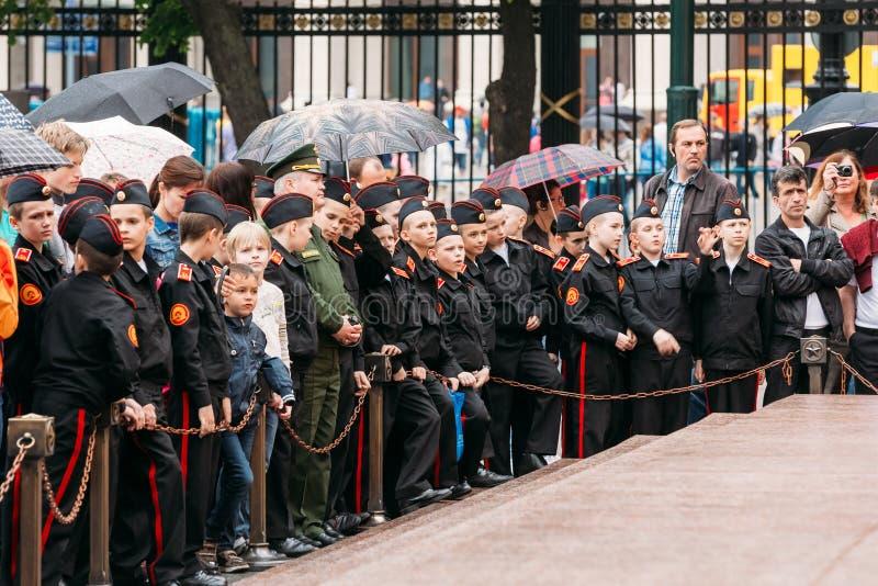 Changement prévu par cadets d'école militaire de Suvorov image stock