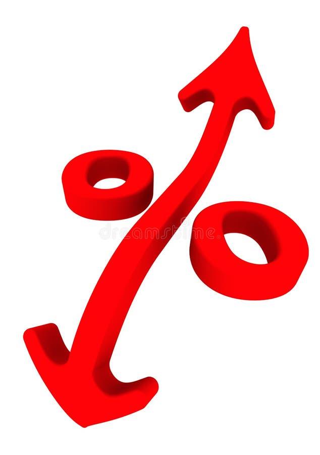 Changements de taux d'intérêt Symbole rouge de pourcentage illustration stock