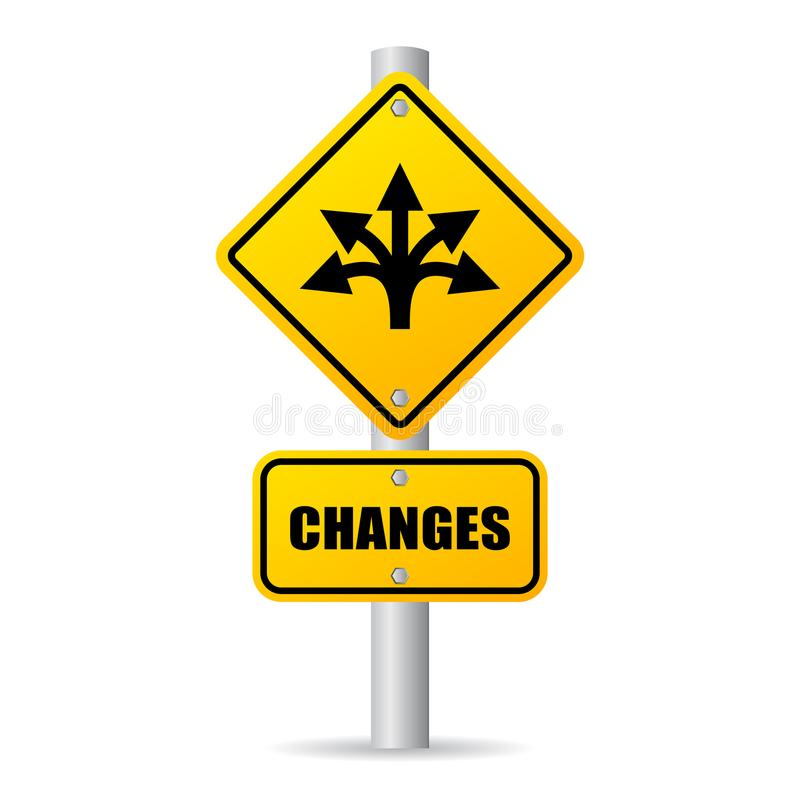 Changes ahead vector road sign royalty free illustration
