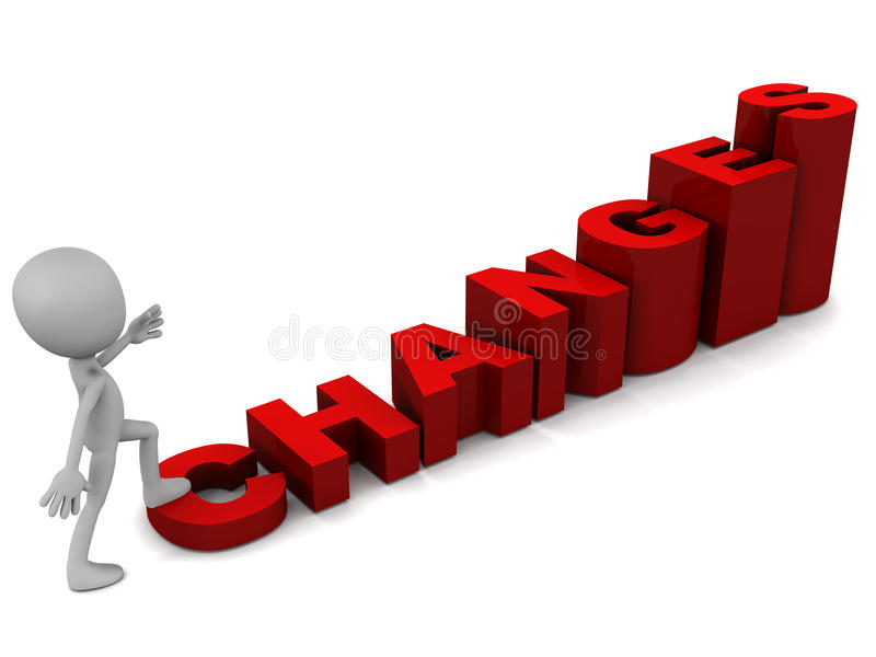 Changes. Little man climbing rising words changes on white backdrop, concept of rise through change management