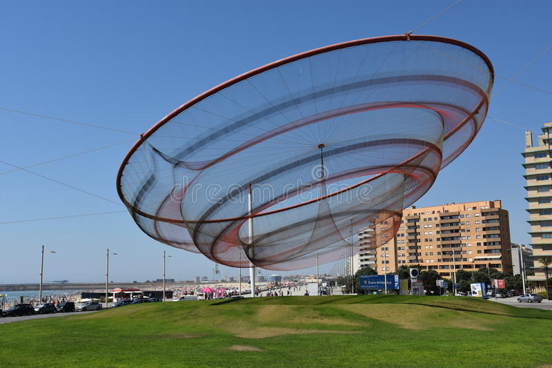 She Changes sculpture by Janet Echelman at a roundabout in Porto, Portugal stock photos