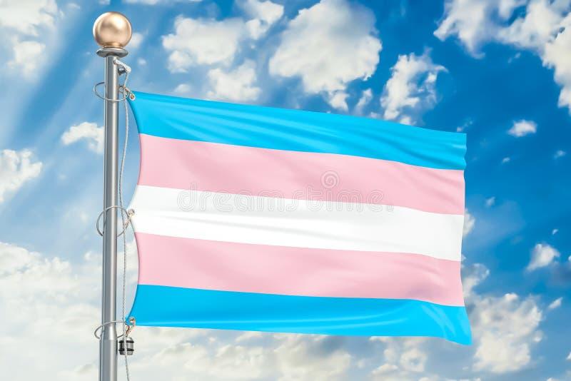 Changez de sexe le drapeau ondulant en ciel nuageux bleu, le rendu 3D image libre de droits