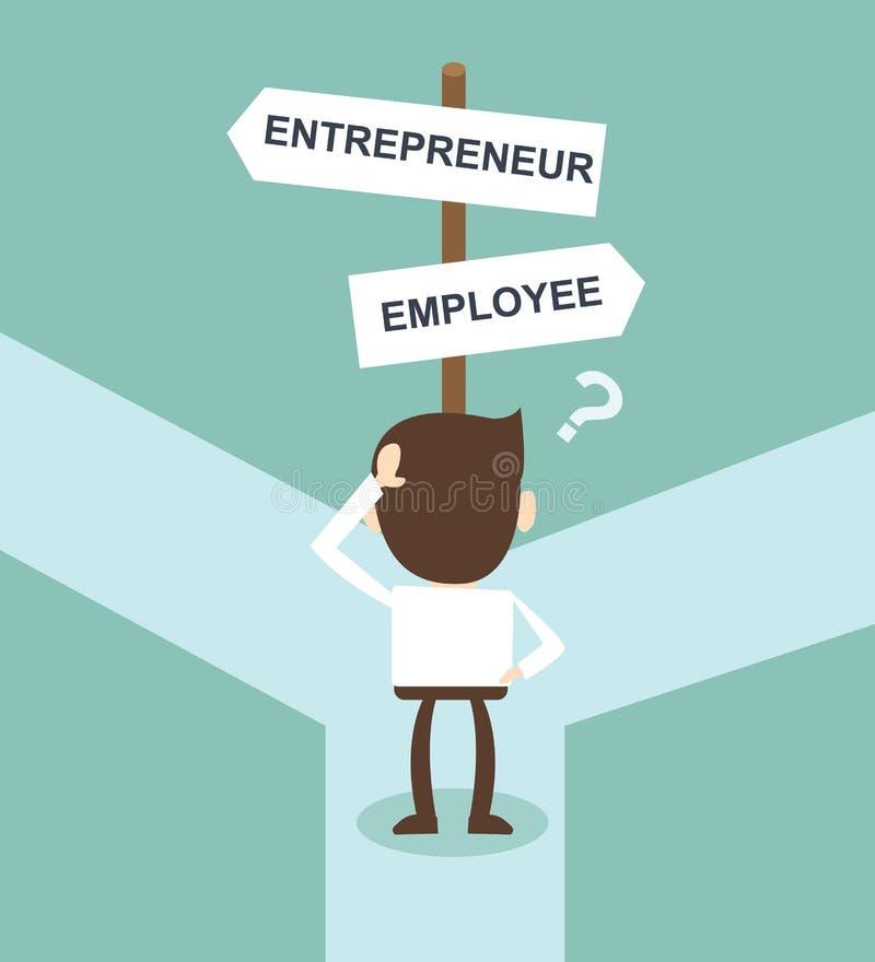 Changez la direction de rue d'entrepreneur des employés de directions de carrière illustration de vecteur