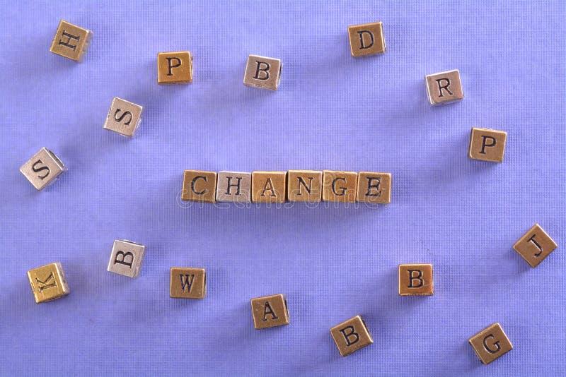Changez le bloc en métal de mot photo libre de droits