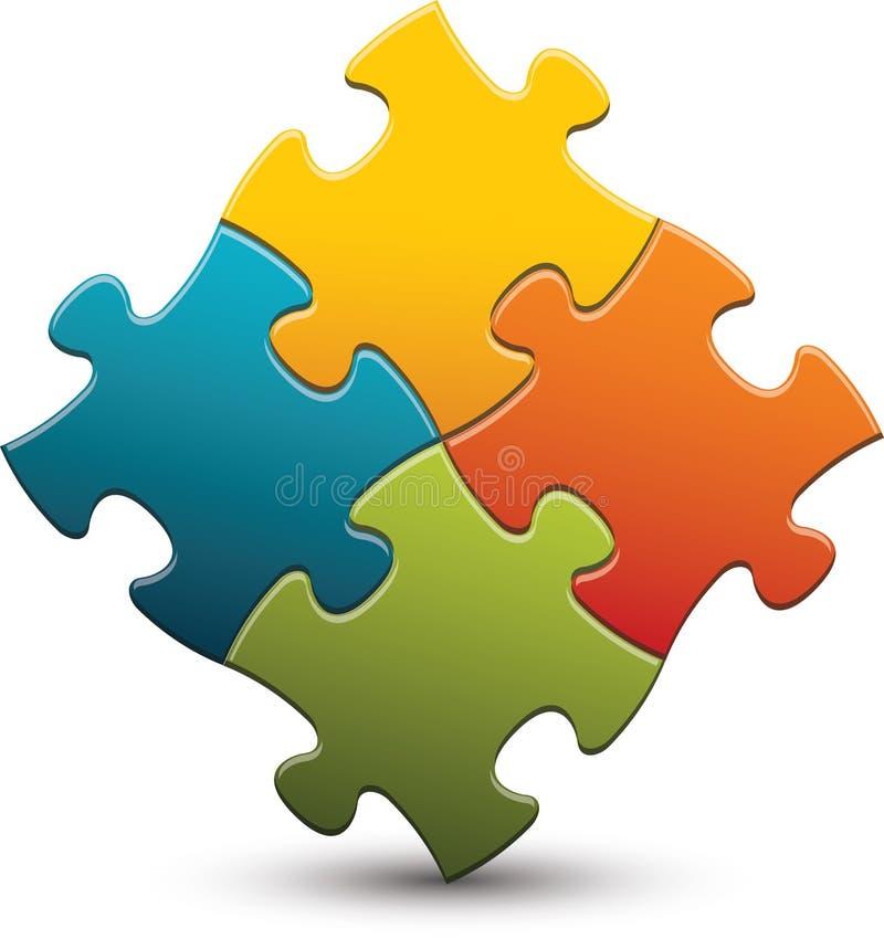 changez le puzzle facile des parties eps8 de couleurs remettant à la côte le vecteur illustration de vecteur