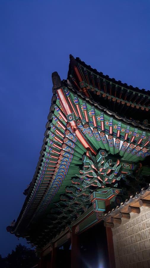 Changgyeonggung宫殿在汉城,美丽的宫殿,美好的屋顶样式 免版税图库摄影