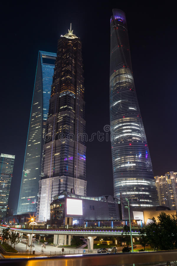 Changhaï, Chine - vers en septembre 2015 : Centre de finance internationale de Changhaï, Lujiazui, Pudong images libres de droits