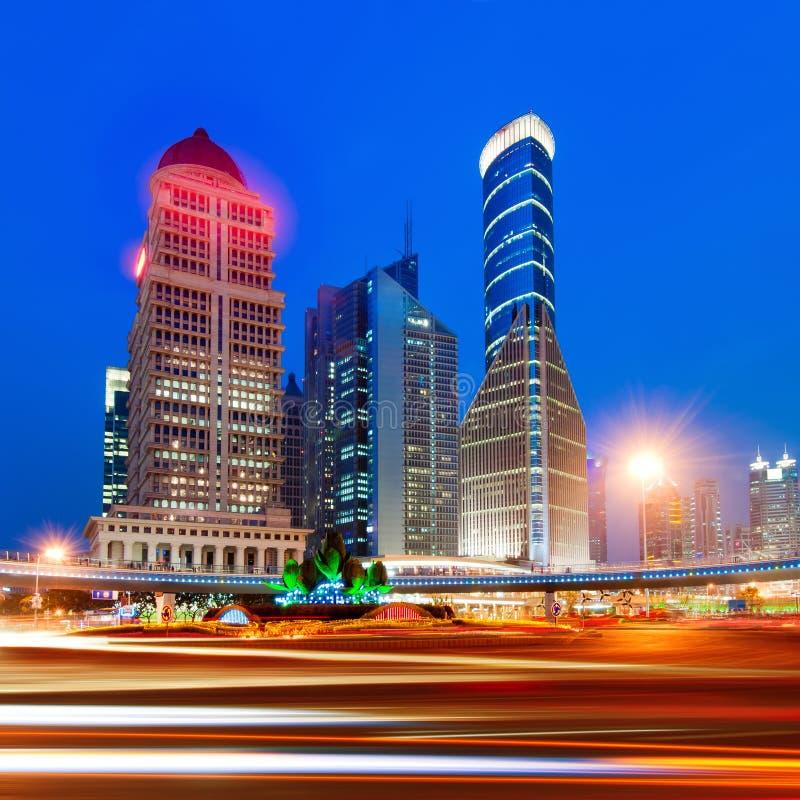 Changhaï la nuit photo libre de droits