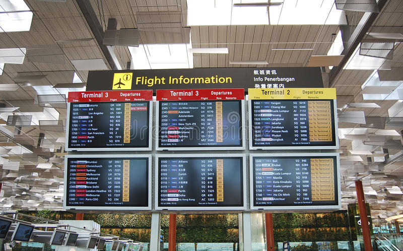 Changi airport hall display screen royalty free stock image