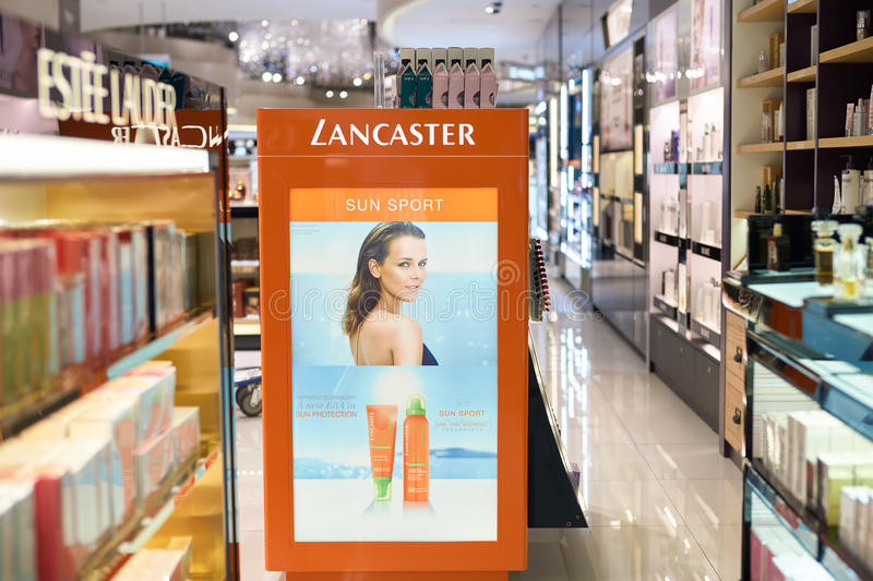 Changi Airport. SINGAPORE - CIRCA SEPTEMBER, 2016: a cosmetics store at Changi Airport. Cosmetics, also known as make-up, are substances or products used to royalty free stock photo