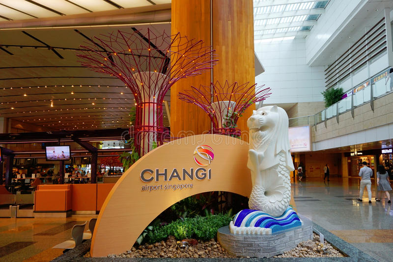Changi Luchthaven van Singapore stock foto's