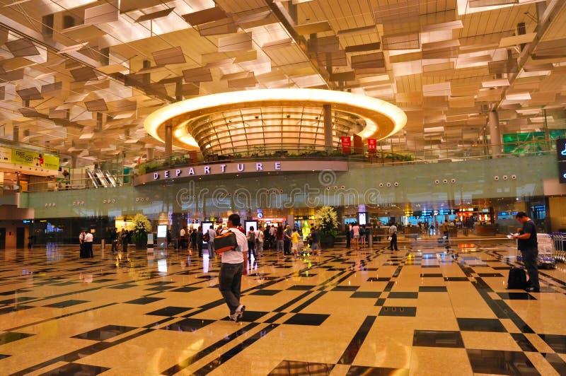 changi singapore för 3 flygplats terminal arkivfoto