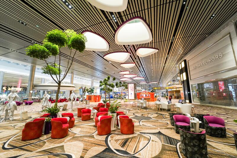 Deserted waiting are of Changi International Airport stock photography